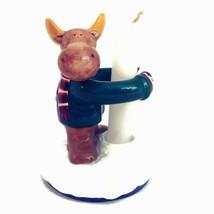 "St Nicholas Square Christmas Moose Taper Ceramic Candle Holder ""Winter F... - $21.24"