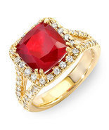 Estate ring 5.2 ct natural ruby and diamond 14k gold - $2,450.00