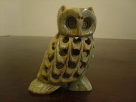 Hand Carved Double Owl - inside - owl Soapstone Figurine - $7.20