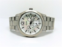 GUESS Mother of Pearl Dial Date Day Hour small dials Watch WR100m New Battery - $29.69