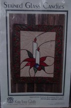 """Fabric Applique Pattern """"Stained Glass Candles"""" 23.5"""" x 29"""" Quilting - $5.99"""