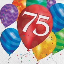 Balloon Blast 16 Ct 75 Luncheon Napkins 75th Birthday Party - £3.02 GBP