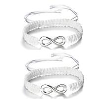 2pcs/set Handmade Rope Bracelet Black White Braided String Braclet For W... - $153,38 MXN