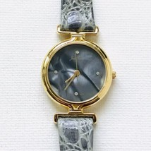 Vintage Jean Pierre Grey Mother Of Pearl Gold Tone Watch New Battery EXC... - $29.70