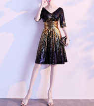 Knee Length Black Gold Sequin Dress Sleeved V Neck Sequin Dress Wedding ... - $125.90