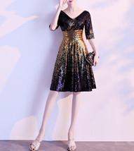 Knee Length Black Gold Sequin Dress Sleeved V Neck Sequin Dress Wedding Dress image 1