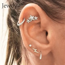 Jewdy® 5 Pcs/Lot Crystal Star Lightning Stud Earrings Set For Woman Boucle - $3.98