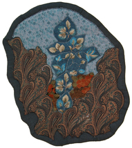 Contemplative Blue: Quilted Art Wall Hanging - $305.00