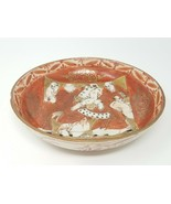 """Antique Elders Reading Scroll Early Chinese Red Gold Color 6"""" Bowl - $22.75"""