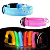 LED Dog Collar Flashing Band Nylon Safety Belt USB Rechargeable Pet Nig... - $8.54