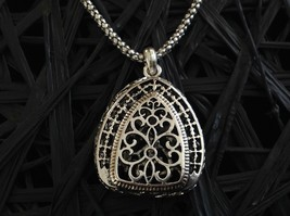 Large Baroque Ornate Filigree antique style Tibetan silver pendant w Long chain
