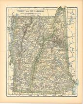 Original 1903 Antique Map Population Table New Hampshire &VT Dodd Mead C... - $26.48