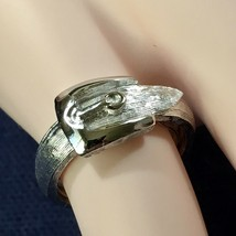 Vintage Avon TAILORED BUCKLE SilverTone Ring-Medium (approx size 6.5-7) NEW - $9.46