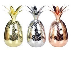 Pineapple Mugs Beer Copper Mug Stainless Steel Cup Cocktail Cup Glass Ba... - £29.56 GBP
