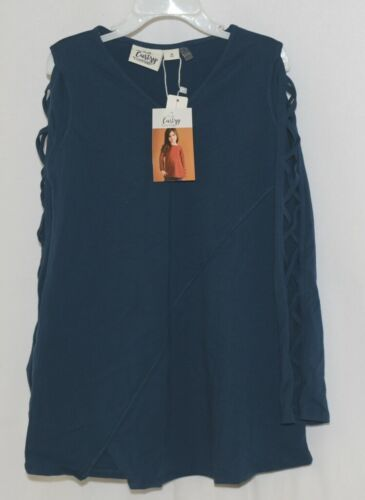 Simply Noelle Curtsy Couture Girls Cutout Long Sleeve Shirt Misty Blue Medium
