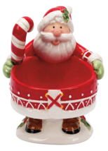 Fitz and Floyd Candy Cane Santa Claus Footed Dip Bowl w Spreader Knife - $19.75