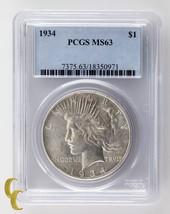 1934 Silver Peace Dollar $1 PCGS Graded MS63 - $268.29