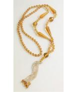 ESTATE Jewelry ANTIQUE ART DECO ERA TOPAZ & CLEAR GLASS FLAPPER NECKLACE - $65.00