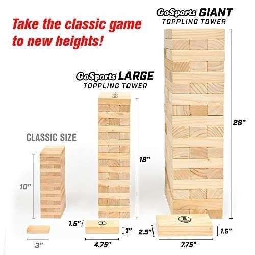 Giant Wooden Toppling Tower Stacks to 5+ Feet Includes Bonus Rules w/ Gameboard