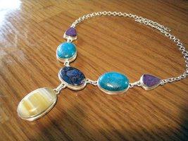 Sterling Necklace Multigem Agate Pendant - $59.00