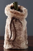"Pottery Barn Brown Faux Fur 13"" Wine Bottle Gift Bag Bottle Cover Hostes... - $13.37"