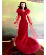 The Franklin Mint- Scarlett O'Hara in Red Velvet and Feathers Gone With the Wind - $250.00