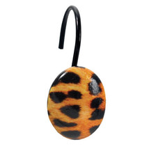 Resin Shower Curtain Hook Set of 12 Leopard Print Hand Crafted - $12.39