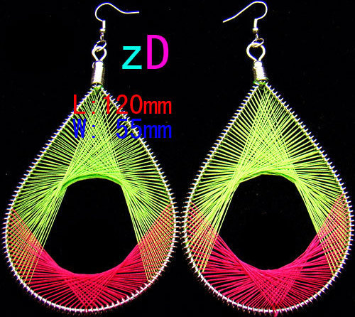 Grn.-Red  Handmade Magic Silk Thread Rhombus Hoop Earring