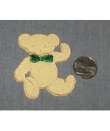 Embroidered iron on Tan TEDDY BEAR Green Bow 2.... - $4.50