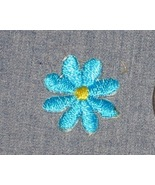 "Embroidered iron on BLUE FLOWERS 3/4"" Round yel... - $3.00"