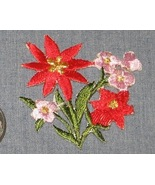 "Embroidered iron on RED PINK FLOWERS patch 2x2""... - $3.50"