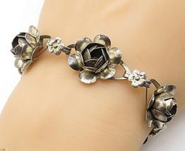 CORO CRAFT 925 Silver - Vintage Dark Tone 3D Flower Design Chain Bracelet- B5651 - $62.27
