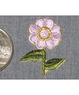 Embroidered iron on LAVENDER FLOWER Gold Green ... - $3.00