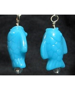 Blue Fish Chunky Dangle Earrings - lightweight ... - $7.50