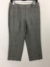 Ann Taylor Loft Marisa Linen Blend Pants Sz 4 Petite Cuffed Lined - $18.69