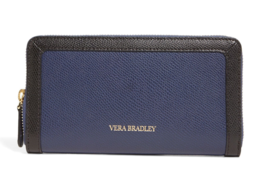 Vera Bradley $98 NWT Georgia Wallet Classic Navy Zip Around Faux Leather - $59.39