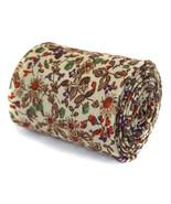 Frederick Thomas Skinny elfenbein creme & Braun Blumen Design linen tie ... - $24.38
