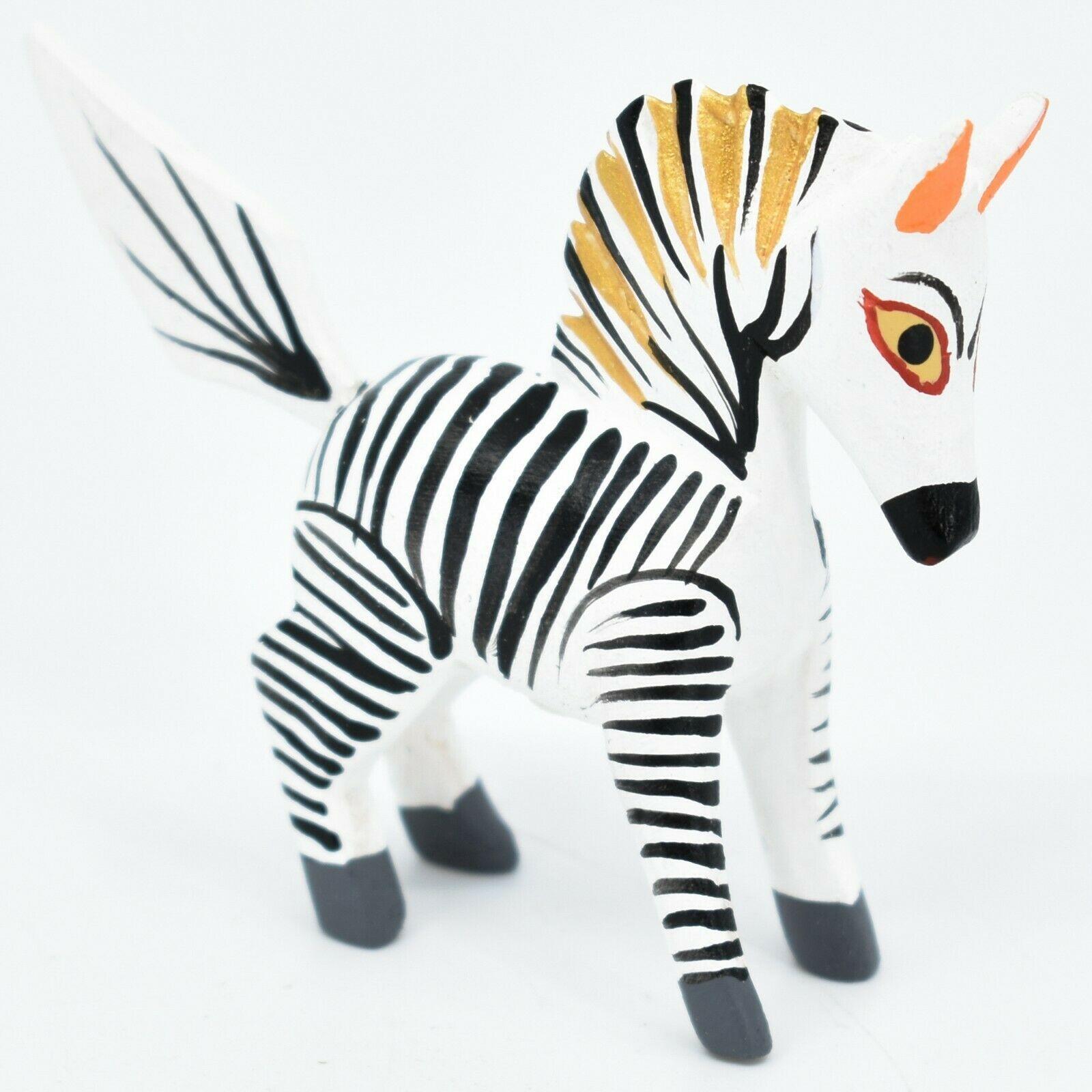 Oaxacan Alebrijes Copal Wood Carved Painted Folk Art Miniature Zebra Mini Figure