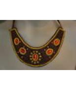 Macy's Bib Necklace Orange Brown Green Beaded Ribbon Fashion Jewlery    - €10,87 EUR