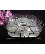 Vintage Princess House Crystal Fantasia Chip Dip Metal Rack, Glass Dinne... - $69.99
