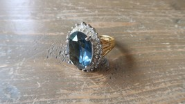 Antique 18k HGE Blue Rhinestone Cocktail Ring Size 9.75 - $29.69