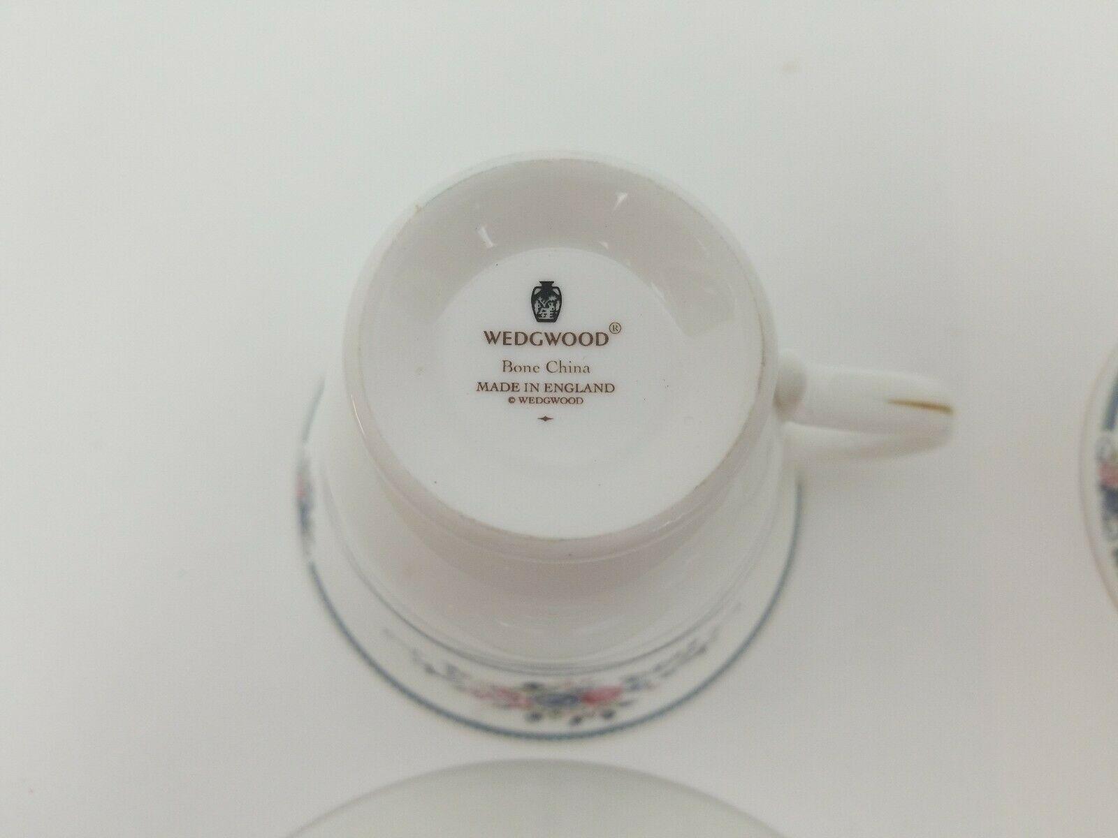 Wedgwood Bone China Cup & Saucer Set of 2 Charlotte White Gold Trim England 1991 image 7