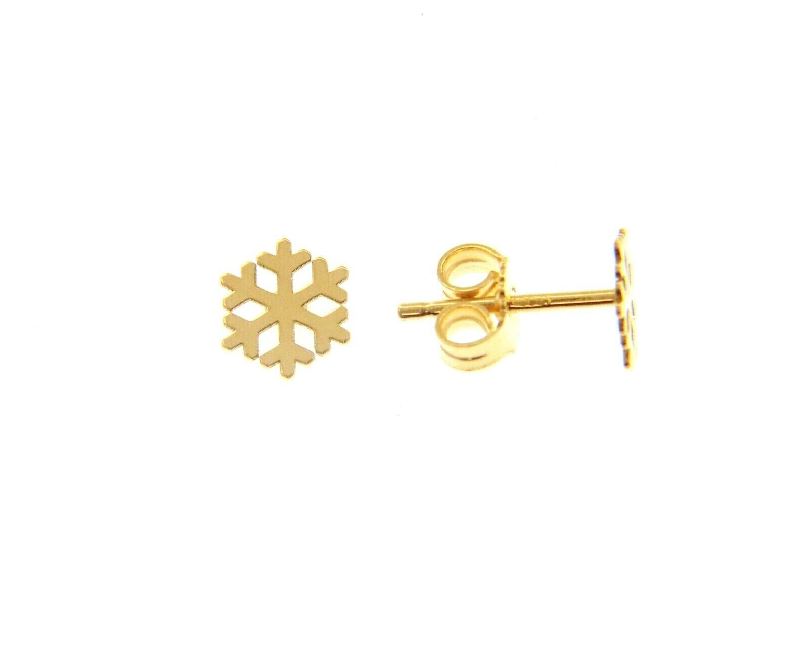 18K YELLOW GOLD EARRINGS SMALL FLAT SNOWFLAKE, SHINY, SMOOTH, 5mm, MADE IN ITALY
