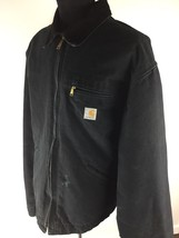 CARHARTT Outdoor Wear Full Zip Up Black Jacket with Lining Men's Size 48... - $45.48