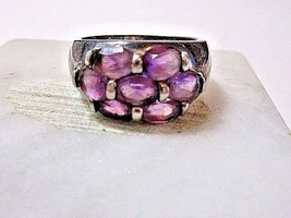 VINTAGE STERLING SILVER PURPLE STONE GLASS RING BAND RING SIZE 6.5 GMS. ... - $20.00