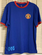 MANCHESTER UNITED Blue Red Ringer Shirt Polyester JERSEY Men's Sz Large ... - $13.99