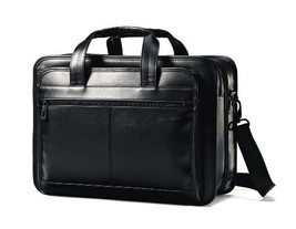 Samsonite Leather Expandable Briefcase, Black - $139.42