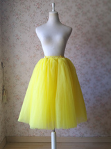 Yellow Puffy Midi Tulle Skirt Plus Size Tulle Tutu Skirt 6-layered Yellow Skirt  image 10