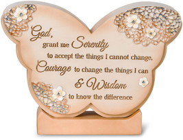 Serenity Prayer Butterfly Plaque New Self Standing God Grant Me Courage ... - $16.82