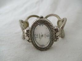 Geneva Oval Cuff Watch, Silvertone Metal Band - $29.00